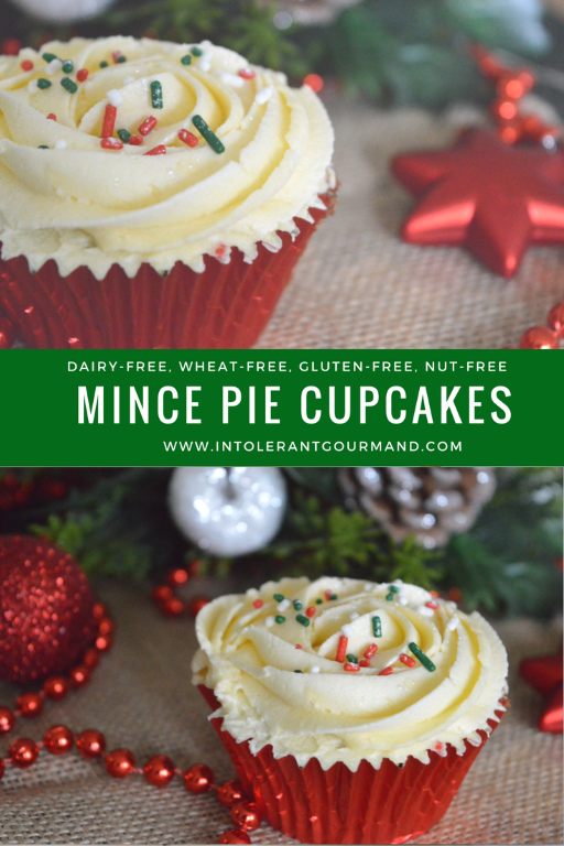 Simple Mince Pie Cupcakes - a delicious new take on the classic cupcake, given a festive twist! Quick and simple to make and dairy-free, gluten-free, wheat-free, egg-free, nut-free and more and still super tasty! www.intolerantgourmand.com