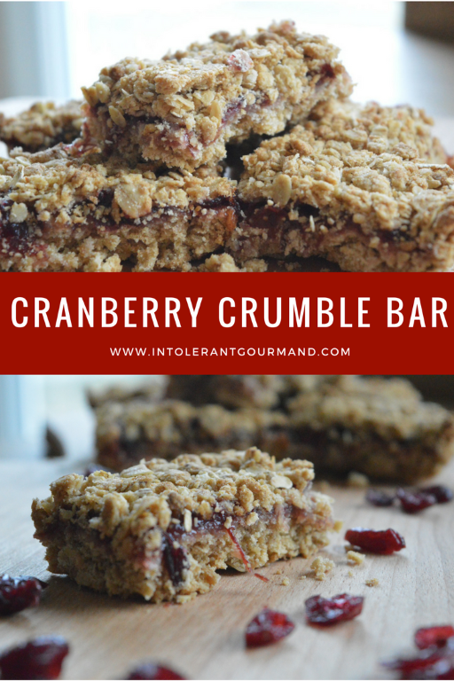 Cranberry Crumble Bar - a delicious christmas treat that's gluten-free, nut-free, wheat-free, egg-free, dairy-free and tastes delicious! www.intolerantgourmand.com