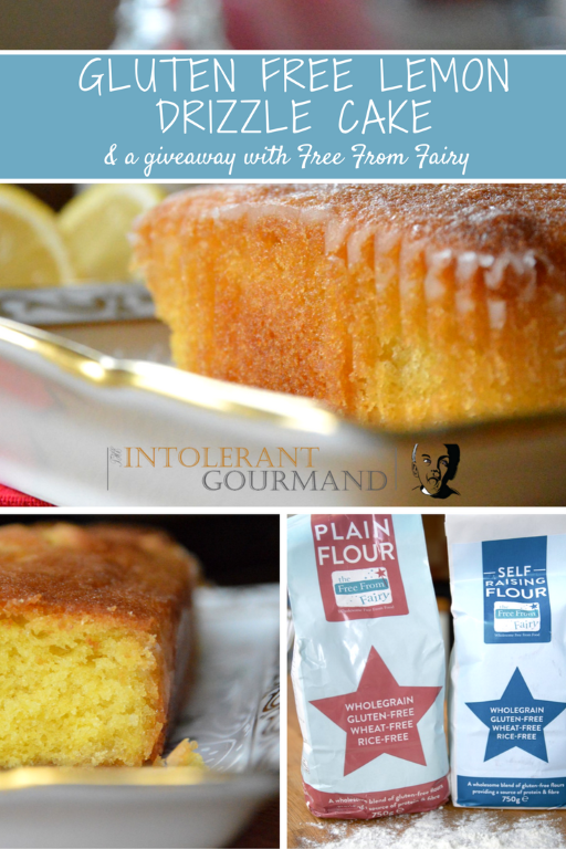 GF DF Lemon Drizzle Cake a giveaway - a recipe for a deliciously light and fluffy lemon drizzle sponge made using Free From Fairy flour, and a chance to win a goodie bag of flours and an e-recipe book in time for Christmas! www.intolerantgourmand.com