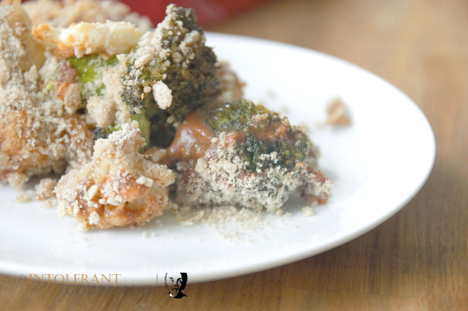Broccoli Cauliflower Crumble - a delicious take on the classic crumble, given a gluten-free savoury twist! www.intolerantgourmand.com