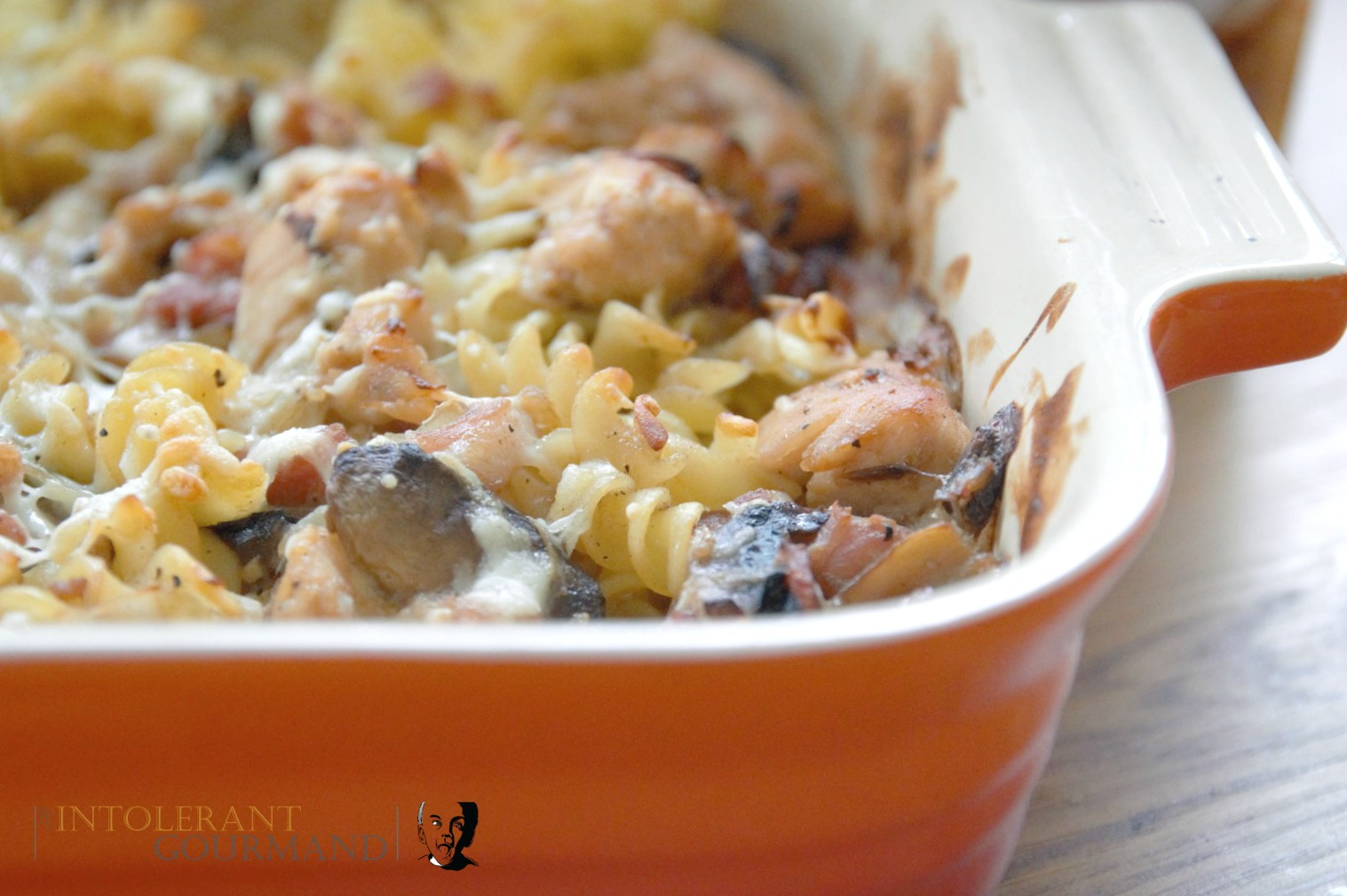 Chicken Mushroom Pasta Bake - made as part of our IBS Awareness Month series. A gluten-free dish, using every day ingredients and packed full of flavour thanks to a2 Milk and Schwartz products! www.intolerantgourmand.com