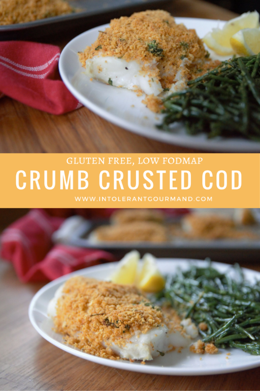 Crumb Crusted Cod with Samphire - stuck for meal ideas? This deliciously simple recipe is perfect for lunch or dinner! It's also gluten-free and low fodmap so perfect for those with IBS! www.intolerantgourmand.com