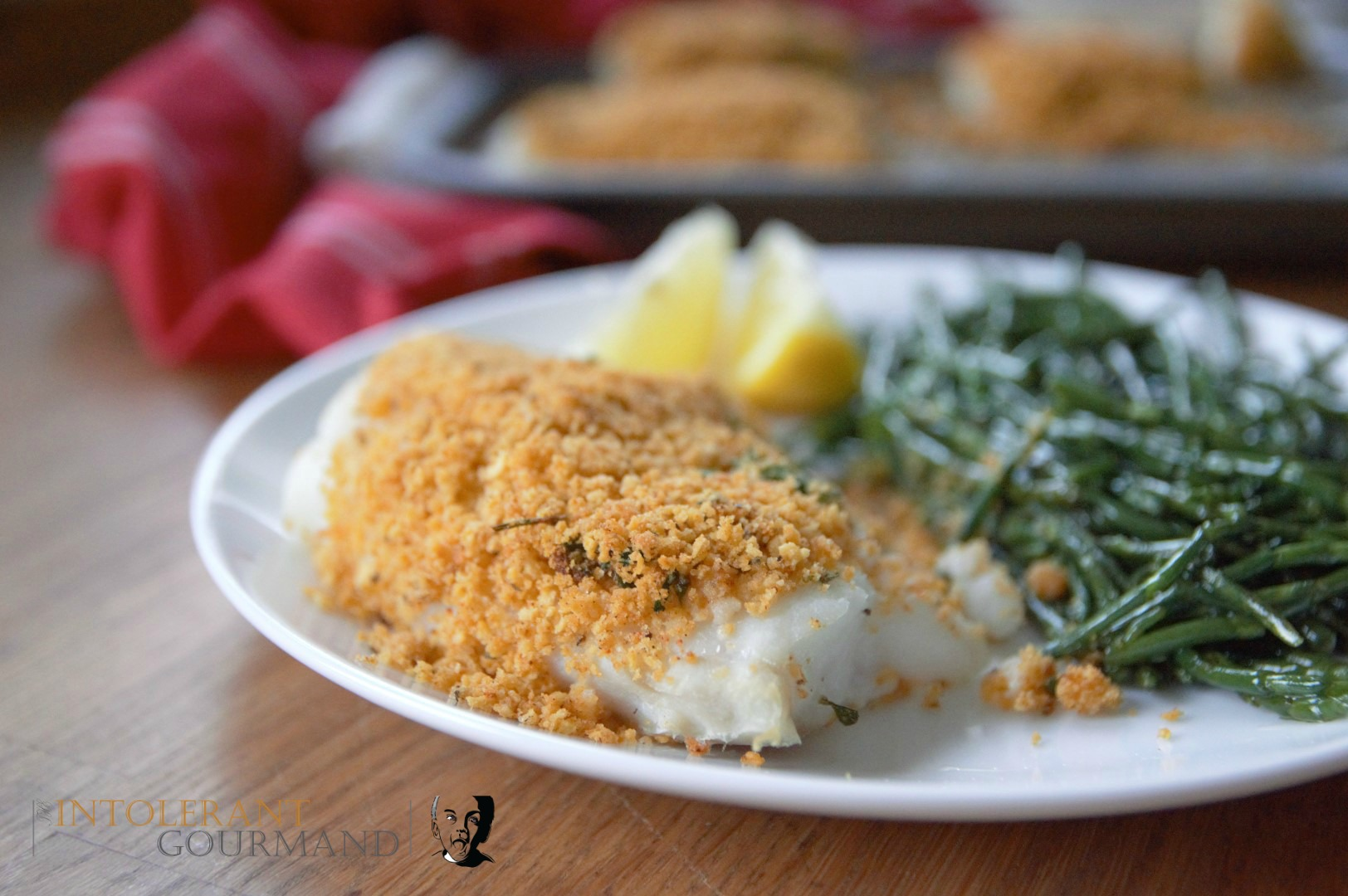 Crumb crusted cod - Stuck for recipe ideas? This deliciously simple meal takes just 30 minutes to make, and is packed full of flavour! It's also gluten-free and perfect for those of you being mindful of IBS symptoms! www.intolerantgourmand.com