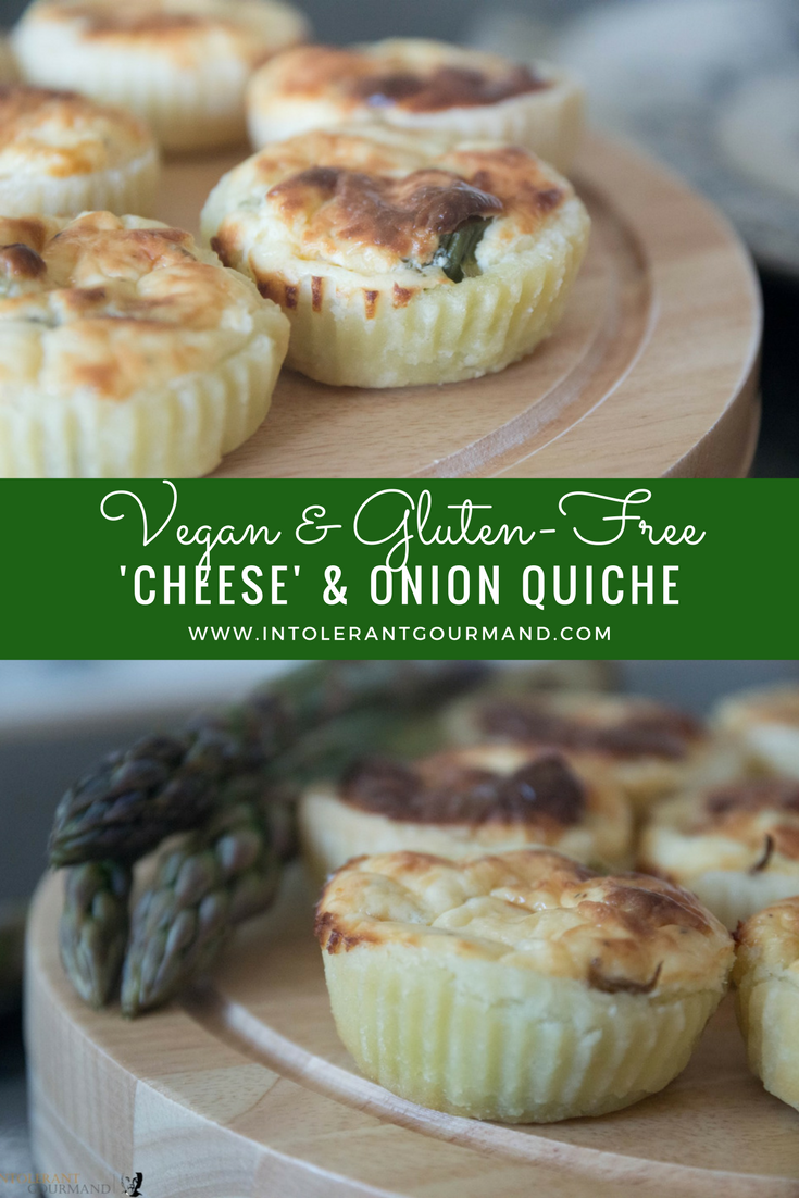 Vegan Glutenfree Cheese Onion Quiche - A delicious, quick and simple to make quiche that is dairy-free, gluten-free, wheat-free and egg-free! www.intolerantgourmand.com