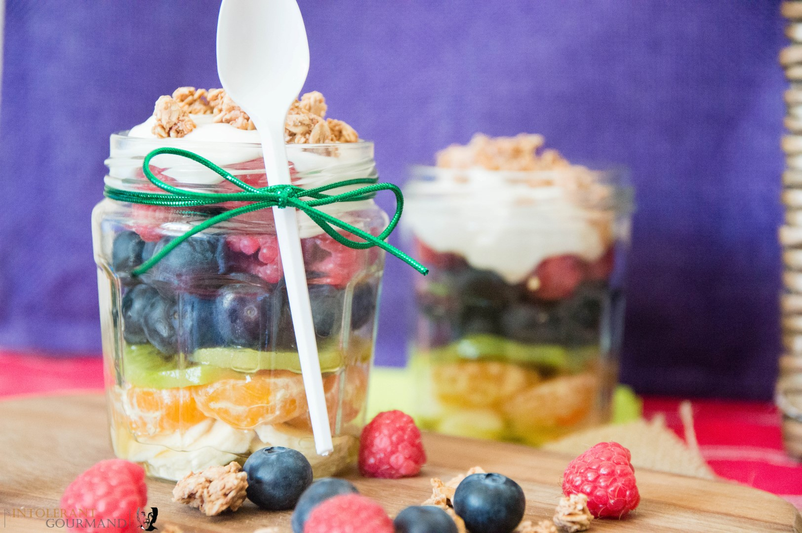 Rainbow Fruit Salad - naturally top14 allergen free, and bursting with flavour! We've teamed these delicious fruits with a dairy-free creme fraiche topping, along with gluten-free granola. Perfect for a #freefrompicnic www.intolerantgourmand.com