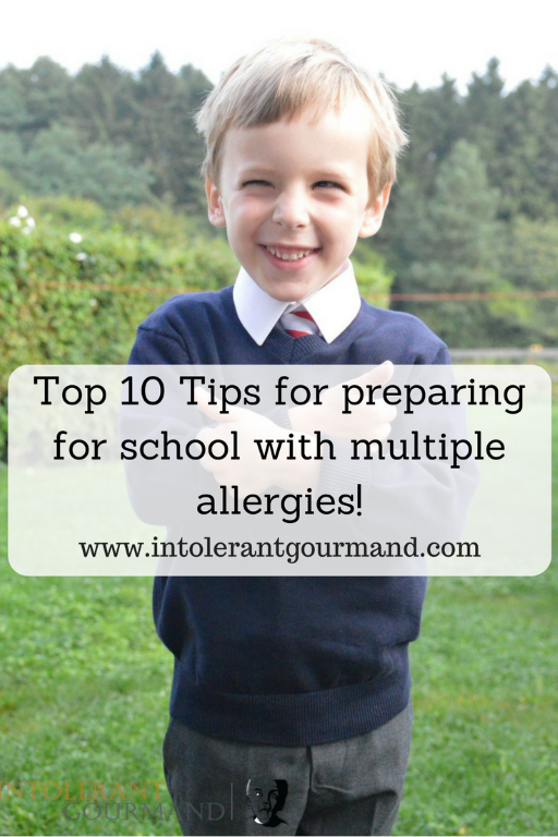 Top 10 tips for preparing for school with multiple allergies - getting everything ready for a new school year can be hard enough! Add multiple allergies to the mix and it becomes a lot of work! My top 10 tips will hopefully help with this! www.intolerantgourmand.com