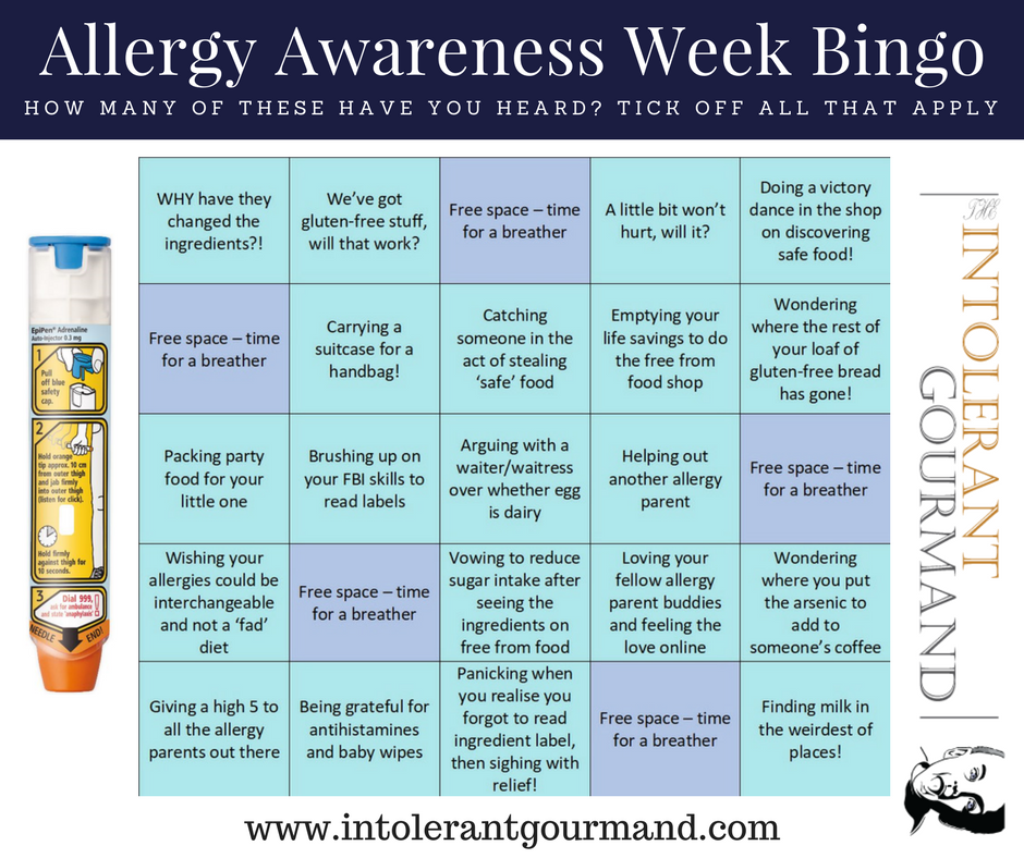 Allergy Awareness Week Bingo - how many of these common questions relating to allergies can you tick off?! Ranging from 'we've got this gluten free stuff...' right the way through to 'a little won't hurt will it?' www.intolerantgourmand.com