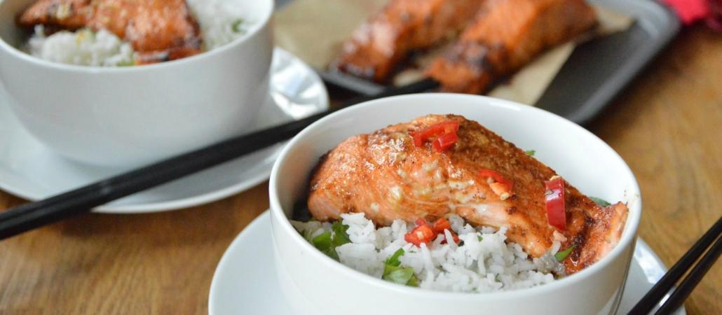 Asian Glazed Salmon Fillets with Zesty Rice